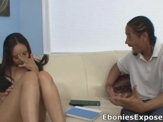 Ebony hot legal age teenager stunner sucking on the dick