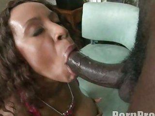 Ebony hot babe Ayana Angel hooks up her ribald mouth on her man's dark shaft