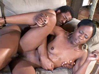 Ebony girl riding over big black cock
