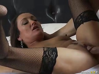 MILF Michelle Lay in black mesh stockings is sex hungry after  divorce. Johnny Sins is her BF and his cock is big! She blows his meat pole and then gets her eager aged snatch drilled.