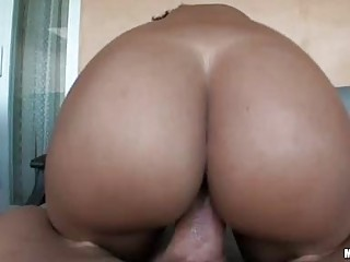 Big ass ebony babe with pierced teats gets her beaver rammed
