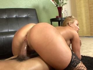 Watch Mellanie Monroe grit her teeth as her ebony fellow toy squeeze his monster penis inside her constricted and trickling wet snatch.  After lubing her up with some head, this fellow pounds her hard and unfathomable and has her squealing as that babe cums over and over anew.