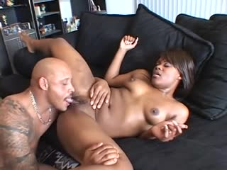 Voluptuous ebony babe enjoys 2 throbbing cocks