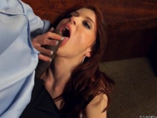 Chocolate woman stands doggy style getting fucked so hard