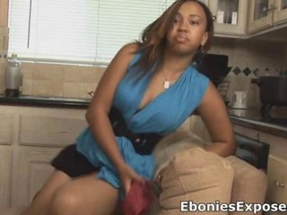 Slutty ebony teen rides a hard white weenie
