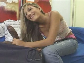 Teen blonde white girl with dark guy - Interracial (p.1)