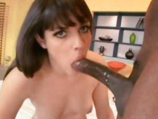 Horny Bobbi Starr gets a massive black shlong shoved deep down her slippery throat