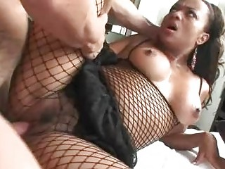 Sluty cinnamon momma in fishnet nylons gets banged by white cock