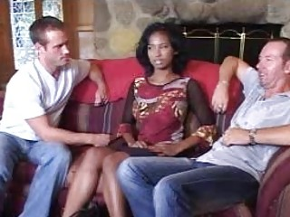 Blameless afro bride in three-some does blowjob for 2 horny fellows