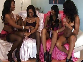 Four amazing hot ebony chicks test their new toys