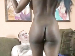 Busty ebony coed Mercy riding a stiff white cock
