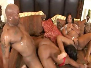 Beauty and Skyy takes on a big black cock and take turns banging