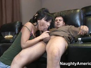 Oriental Asa Akira deep throats a massive black cock and receives sprayed by a load