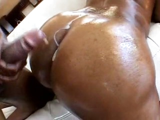 Thick chocolate gazoo analed and covered in cum