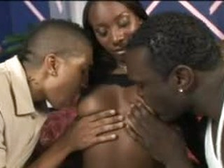 Hot body black girl pleases these black cocks