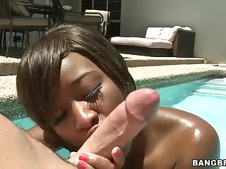 Juvenile black girl Imani Rose with tight ass takes on white cock in the sun. She gives blowjob in the pool and then gets her brown hole pounded. There nothing hotter than sex right in the sun!