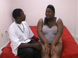 Pregnant Black BBW Taking On a Huge Weenie
