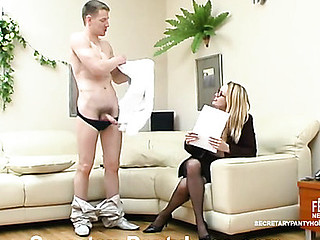 Wicked secretary getting impaled on mighty shaft with her black tights on