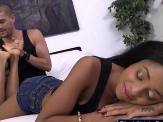 Morose black cutie Anya Ivy rammed by a hard ashen cock