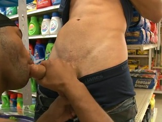 Interracial gay scene with white and moonless males having fun