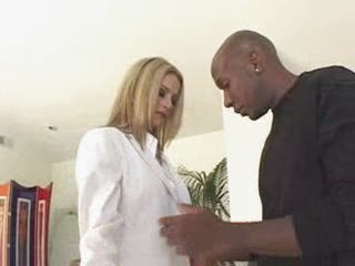 Blonde white business woman with black lover - Interracial