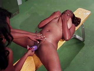Ebony girls practicing the art of dildoing