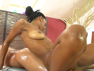 Sweet chocolate babe's slippery massage