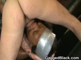 Obscene Black Ghetto Slut Gets Interracial Face Fucking