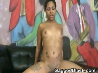 Wild Darksome Ghetto Slut Riding On A White Dick