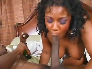 Watch as this hot and horny ebony slit takes on two hard black studs....