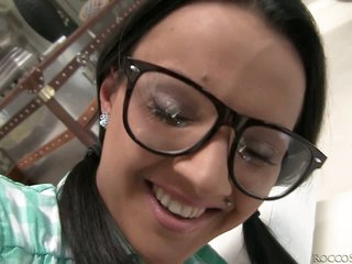 Juvenile black haired chick Tiana B with nice glasses feels horny. Round assed girl in green mini skirt removes her yellow pants and gets her pussy touched from behind. Then that babe takes chap meat in her sexy mouth form your POV and gets her nice big breasts rubbed.