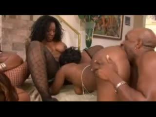 Four ebony babes lick pussy and fuck knob
