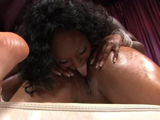 Butterfly sucked on Skyy Black's pointed nipples and gave her vagina a good eating out.  There isn't sufficiently pecker in the world to satisfy those angels the way they can please each other, and they showed that a hard flesh pole sometimes ain't as good as a woman's touch.