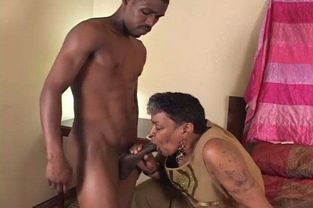 Black granny likes the youthful cock