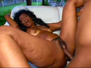 Hairy black milf with a bulky ass fucked outdoors