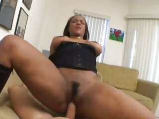 Hot black whore Sinnamon Love slams her juicy snatch on a stiff boner