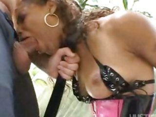 Hawt ebony Marie Luv whacks her mouth with her lover's massive boner