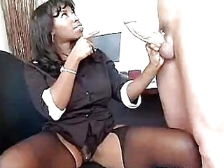 Ebony babe Vanessa Blue takes a white fresh cock in her warm mouth