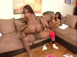 Two hot dark chicks get frisky with his BBC