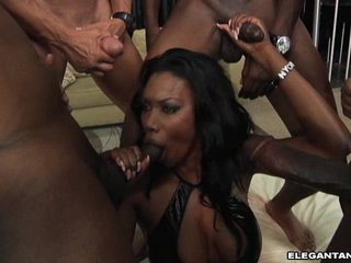 Nyomi Banxxx gets swarmed by hot black ramrods pleading hard for a wild blowjob