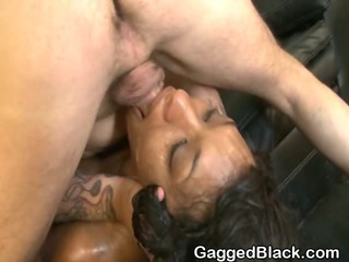 Black Slut Gets Throat Humped By White Chap