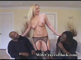 Busty, golden-haired MILF in hot threesome with two big black dicks