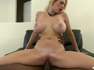 Breasty milf Charlee Follow has office sex with black guy