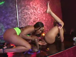 Black strippers have lesbian sex on stage