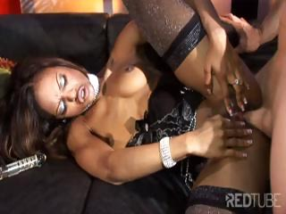 Stunning ebony girl and fortunate white dick