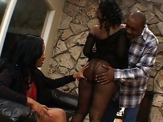 Hawt ebony threesome in a black porn clip