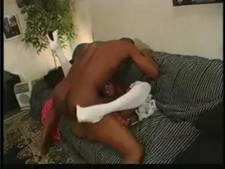 Breasty ebony escort gives black dude some hot loving and banging