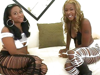 2 amazing ebon babes Candee Apple and Asa fucking