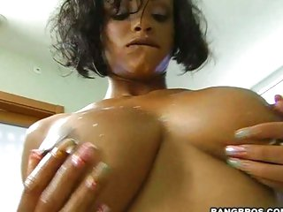 Hot babe Lavish Styles loves the cum spray on her boobies right after a hot fuck