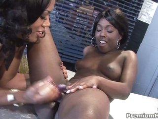 Ebony lesbians eat and toy pussy